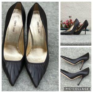 Roberto Cavalli  Leather Black Heels Shoes Sz 36